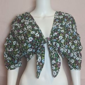 Nasty Gal Plant Be Serious Cropped Floral Blouse